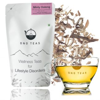 Minty oolong tea by Ono Teas. Packet and cup filled with tea
