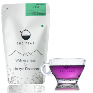 4 PM Purple Tea by Ono Teas pack and cup