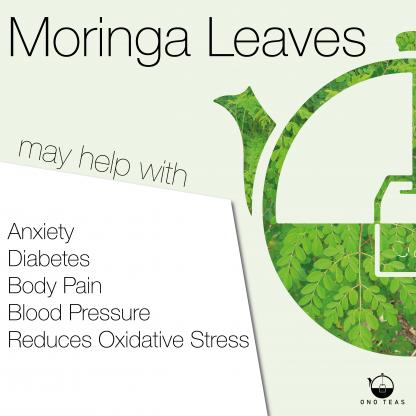 Health Benefits of Moringa leaves listed with Ono Teas logo