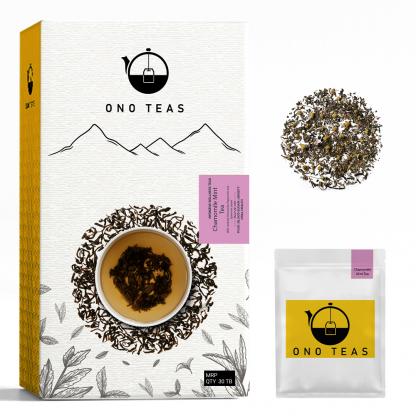 Chamomile Mint tea by Ono Teas. Pack, teabag and loose leaf.
