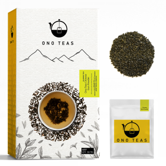 Gunpowder tea by Ono Teas. Pack with teabag and loose leaf