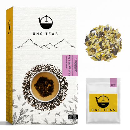 Moringa Mint by Ono Teas. Pack, teabag and loose leaves