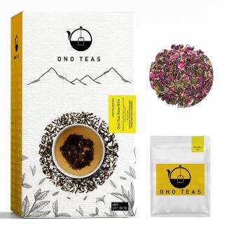 Rose Mint Tea box and tea bag by Ono Teas