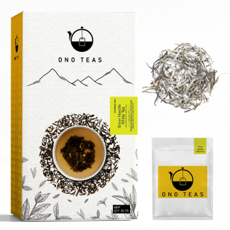 Silver Needle White tea by Ono Teas pack, teabag, and loose-leaves