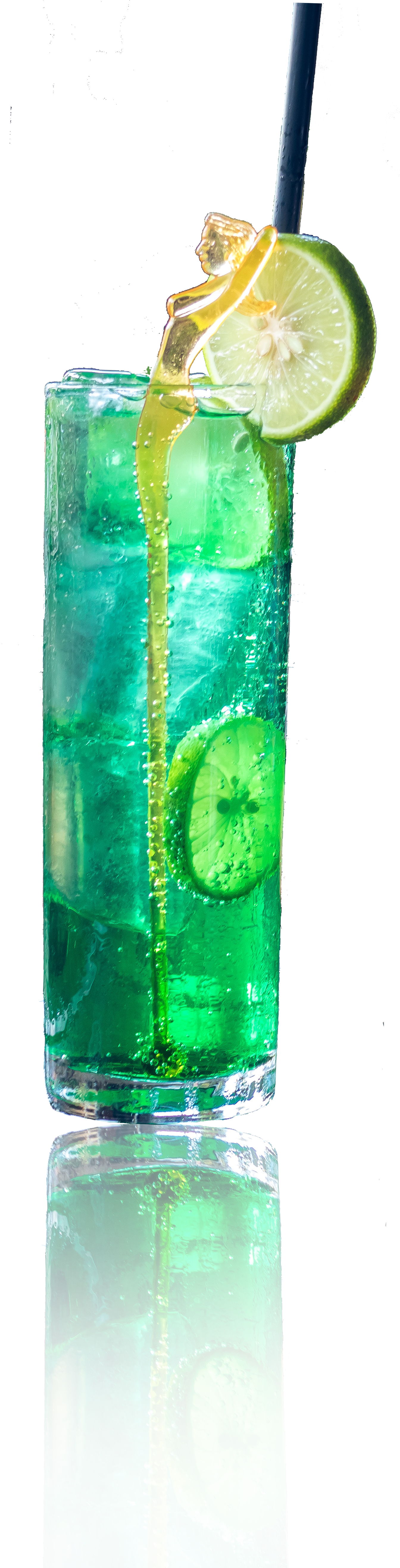 Cup filled with Cool Green Ocean Tea with lemon wedge and straw